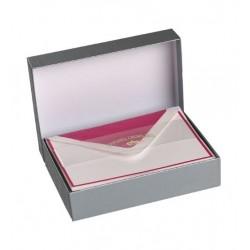 Kartenbox A6 Crown Mill Weiss mit pink Rand