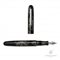 Füllfederhalter Nakaya Writer / Portable  L-A Snowflake  Black Chingin Elastic Breit...